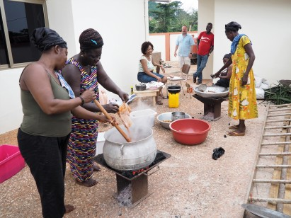 Aunties preparing food for the party guests
