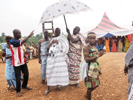 The chief in the village making a grand entrance